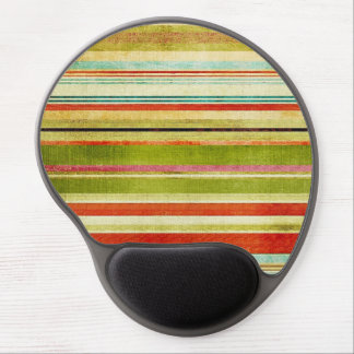 Funky Colorful Horizontal Grunge Stripes Pattern Gel Mouse Pad