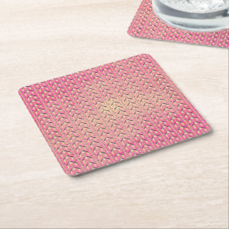 Funky Colorful Pink  Beige Geometric Pattern Square Paper Coaster