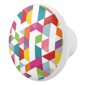 Funky Colorful Retro Triangles Mosaic Pattern Ceramic Knob