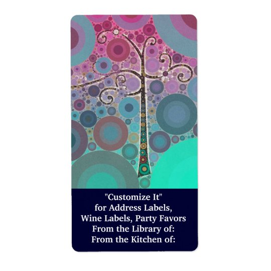 Funky Colourful Scroll Tree Circles Bubbles Pop Shipping Label