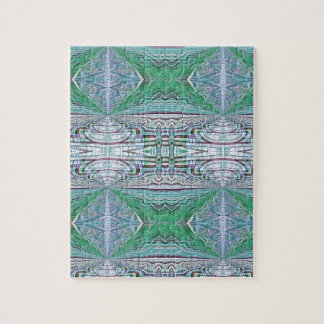Funky Cool Blue Green Kaleidoscope Tribal Pattern Jigsaw Puzzle