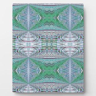 Funky Cool Blue Green Kaleidoscope Tribal Pattern Plaque