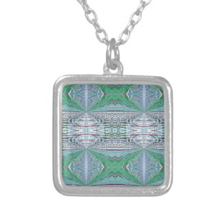 Funky Cool Blue Green Kaleidoscope Tribal Pattern Silver Plated Necklace