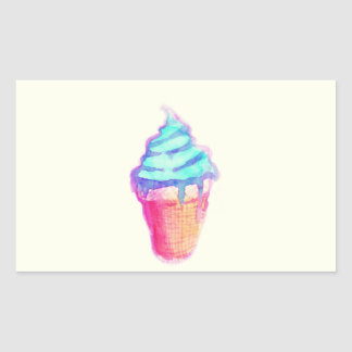 Funky Cool Drippy Ice Cream Cone in Watercolors Rectangle Stickers