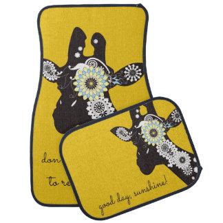 Funky Cool Giraffe Animal Quote Funny Yellow Car Mat