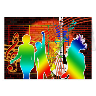 Funky Cool Music Dance Pop Art Design Card