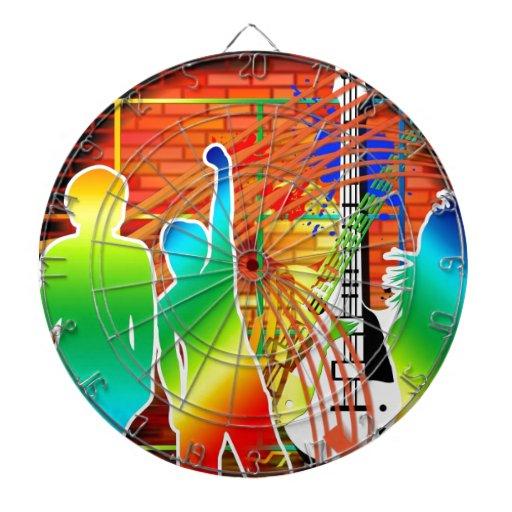 Funky Cool Music Dance Pop Art Design Dartboard With Darts