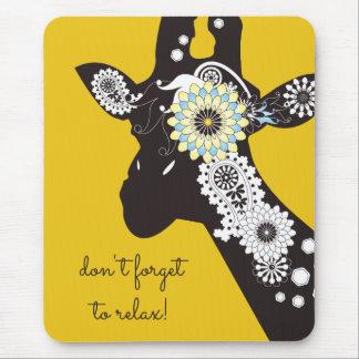 Funky Cool Paisley Giraffe Funny Animal Yellow Mouse Pad