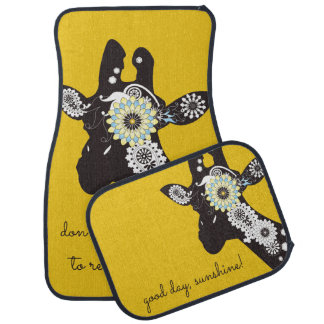 Funky Cool Paisley Giraffe Yellow Floor Mat