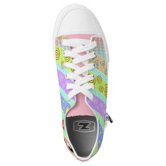 Funky Cool Pattern Sneakers Hearts Swirls Pyramids