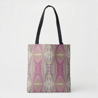 Funky Cool Tan Pink Feminine Tribal Pattern Most Tote Bag