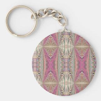 Funky Cool Tan Pink  FeminineTribal Pattern Key Ring
