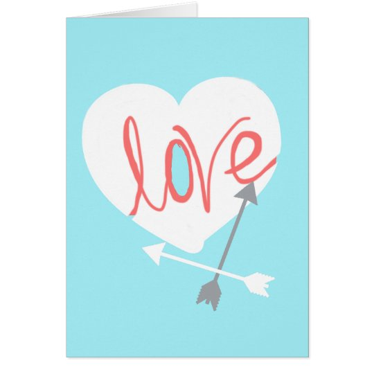 Funky Coral Love Heart Arrows Greeting Card