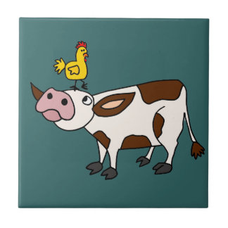 Funky Cow with Chicken on Her Head Cartoon Ceramic Tile