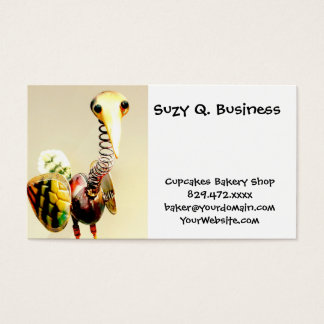 Funky Crane Bird Metal Garden Ornament Folk Art Business Card