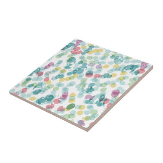Funky Cute Colorful Happy Summer Polkadots Pattern Ceramic Tile