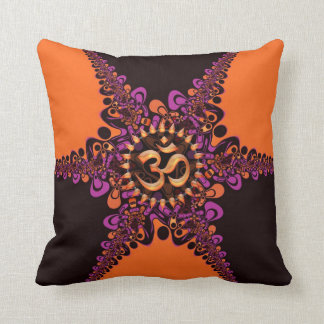 Funky Dark Chocolate Pink Orange OM Sign Cushion