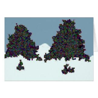 Funky dark tree doodle greeting card