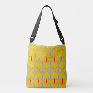 Funky diamond stripe yellow red bag