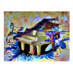Funky Digitally Coloured Piano Postcard