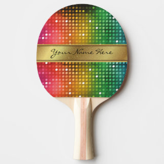 Funky Disco Lights with Gold Glitter Name Stripe