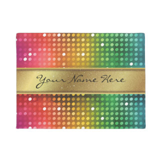 Funky Disco Lights with Gold Glitter Name Stripe Doormat