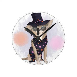 Funky dog round clock