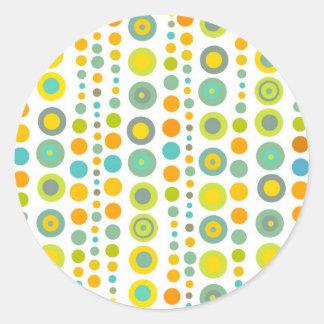 Funky dots round sticker