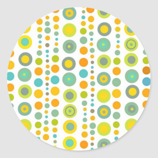 Funky dots round stickers
