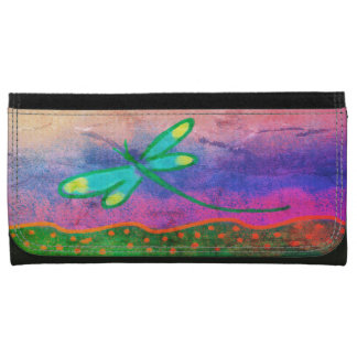 Funky Dragonfly Abstract Art Wallet