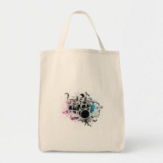 funky drummer vector design grocery tote bag