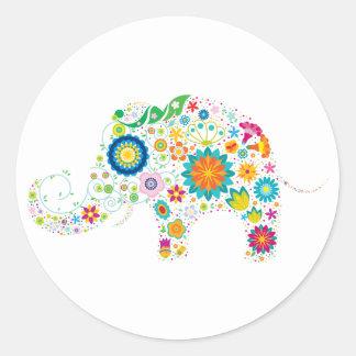 Funky Elephant Round Sticker