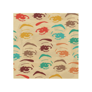 Funky Eyes Graphic Design Wood Wall Decor