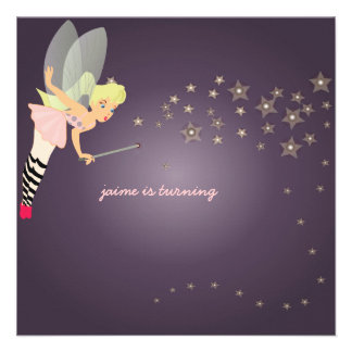 Funky fairy Children Birthday Party Announcements