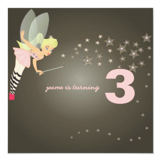Funky fairy with starry night 13 cm x 13 cm square invitation card