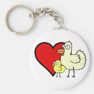 Funky Farm Chicken And Chick I Heart Mom Keychain