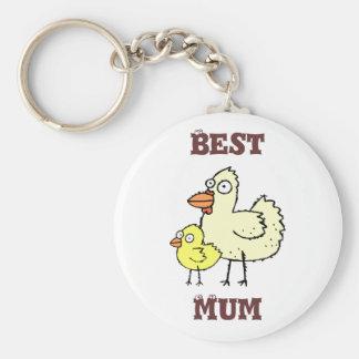 Funky Farm Chicken + Chick Best Mum! Keychain 1