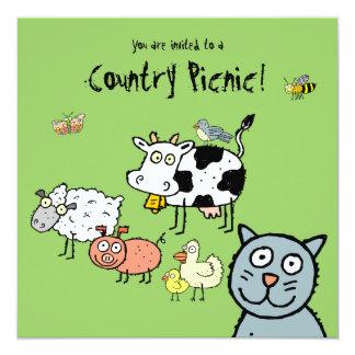 Funky Farm Country Picnic Invitation