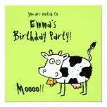 """Funky Farm Cow (Birthday) Party Invitation Moooo!! 5.25"""" Square Invitation Card"""