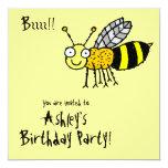 """Funky Farm Honey Bee (Birthday) Party Invitation 5.25"""" Square Invitation Card"""