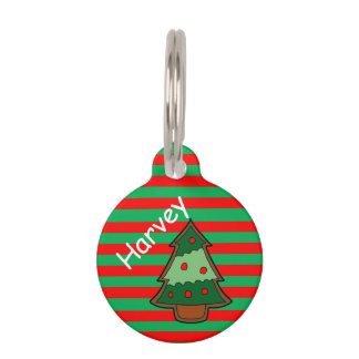 Funky Festive Stripes and Tree Pet Tag