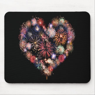 Funky Fireworks Love Mouse Pad