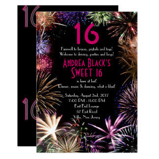 Funky Fireworks Sweet 16 Birthday Invitation