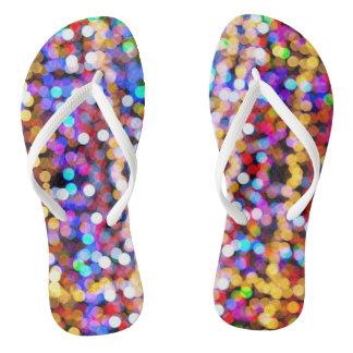Funky flip flops blurry lights thongs