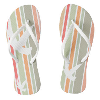 Funky flip flops stripes and birds thongs