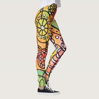 Funky Floral Circles Stripes Abstract Doodle Art Leggings