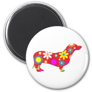 Funky floral dachshund dog magnet, gift idea magnet