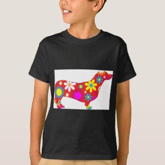 Funky floral dachshund dog tshirt