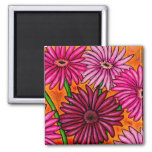 Funky Floral Gerber Daisy Magnet