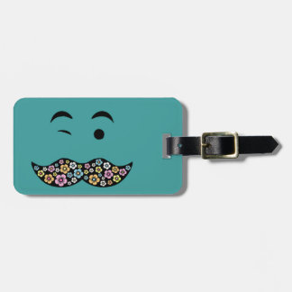 Funky Floral Mustache Luggage Tag